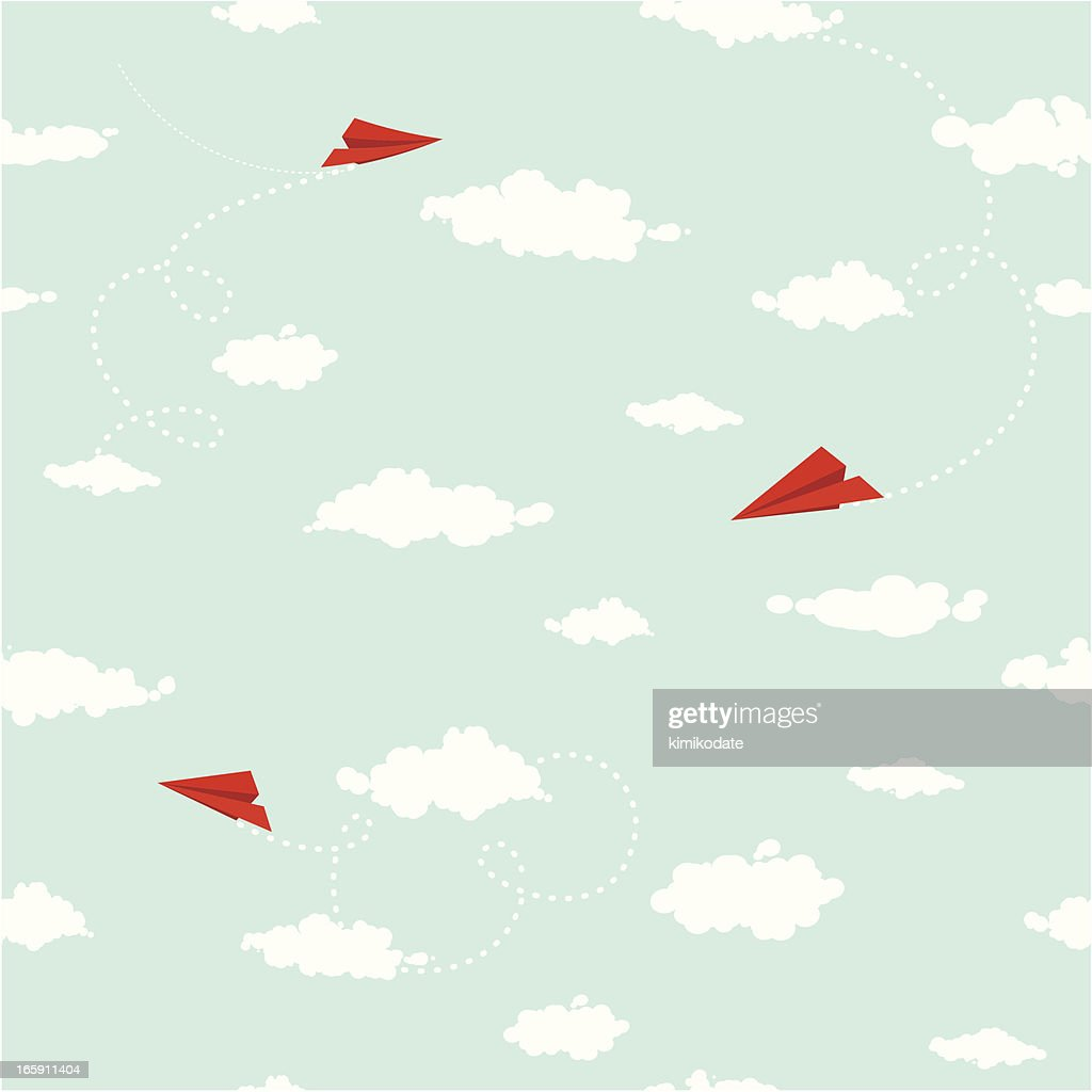 Clouds and paper planes seamless pattern : stock illustration