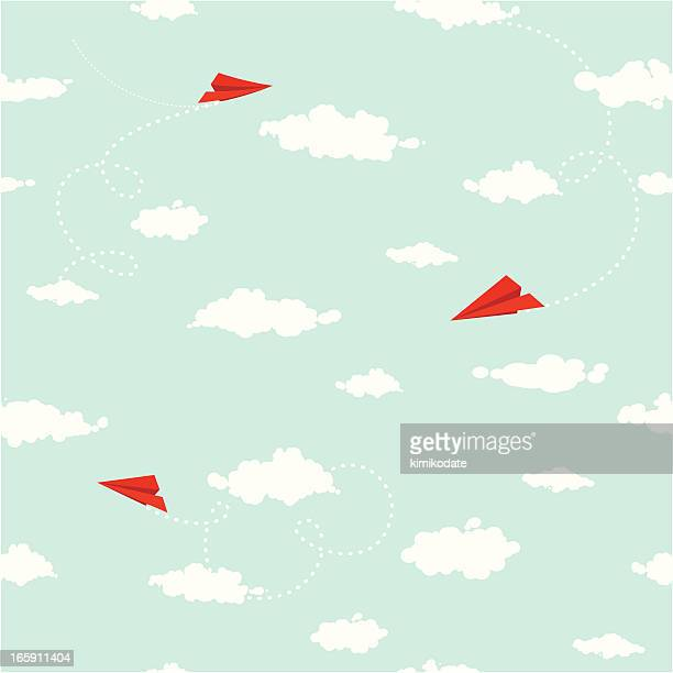 clouds and paper planes seamless pattern - vapor trail stock illustrations, clip art, cartoons, & icons