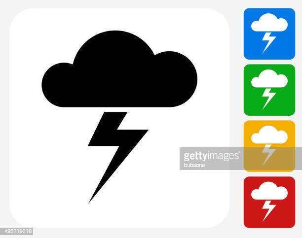 Clouds and Thunderstorm Icon Flat Graphic Design