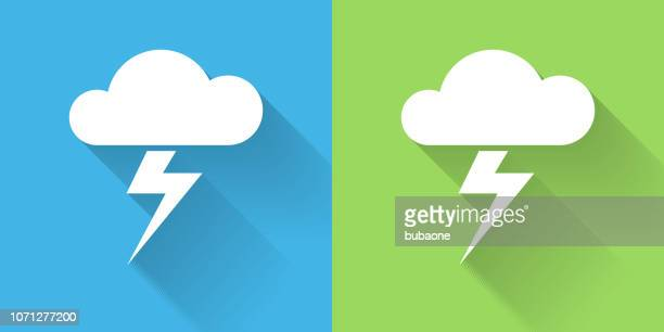 clouds and thunderstorm icon with long shadow - lightning stock illustrations