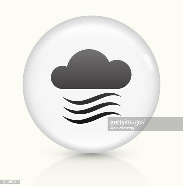 clouds and wind icon on white round vector button - vapor trail stock illustrations, clip art, cartoons, & icons