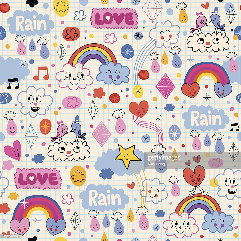 clouds rainbows birds rain love hearts pattern