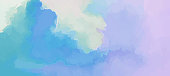 Clouds scenic backdrop blue-pink gentle morning sunrise. Hand painted watercolor sky and clouds, abstract background illustration.