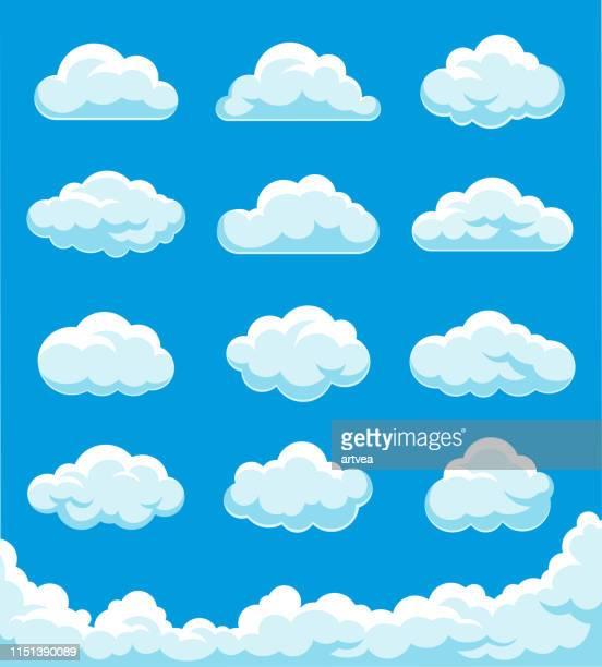 illustrazioni stock, clip art, cartoni animati e icone di tendenza di clouds set illustration - panorama di nuvole
