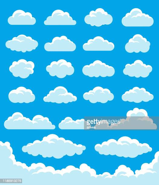 illustrazioni stock, clip art, cartoni animati e icone di tendenza di clouds set - nube