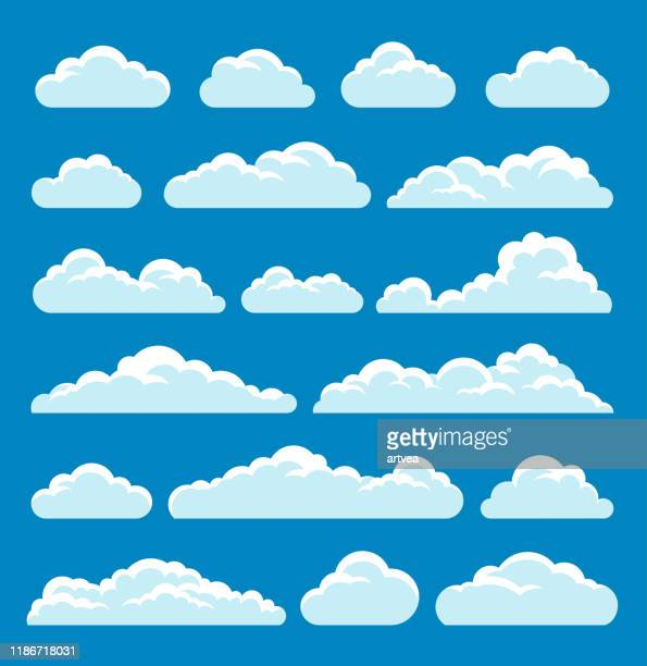 clouds set - two dimensional shape stock illustrations