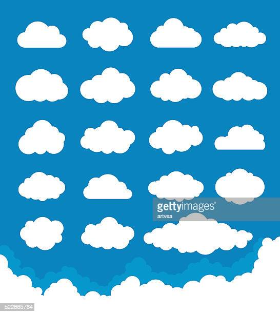 clouds set - shape stock illustrations