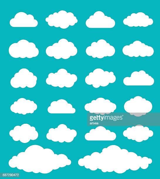 illustrazioni stock, clip art, cartoni animati e icone di tendenza di set di nuvole - panorama di nuvole