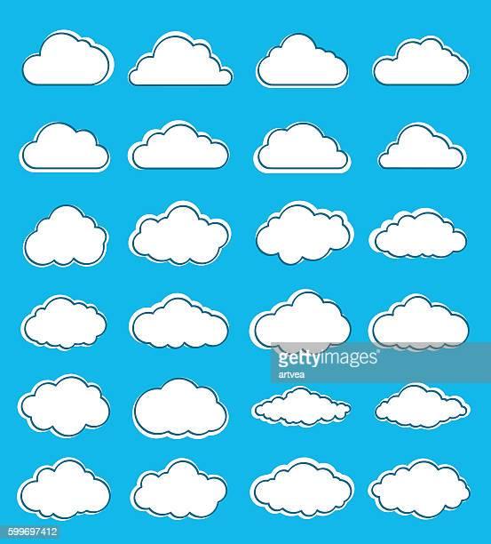 ilustrações, clipart, desenhos animados e ícones de conjunto de nuvens - cloudscape