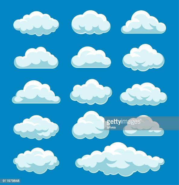 clouds set - cloudscape stock illustrations, clip art, cartoons, & icons