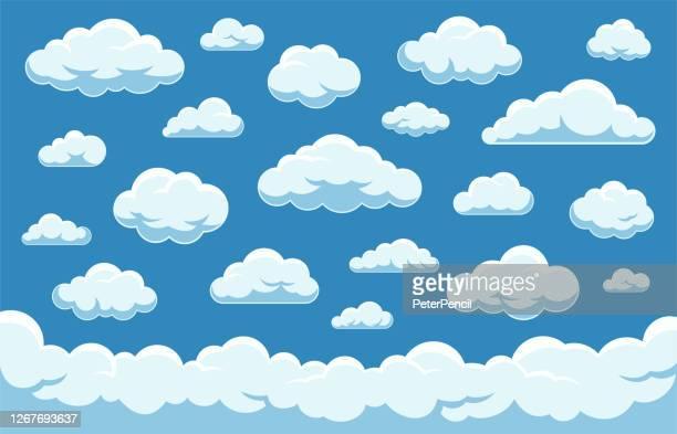 illustrazioni stock, clip art, cartoni animati e icone di tendenza di set di nuvole - vector stock collection - nube
