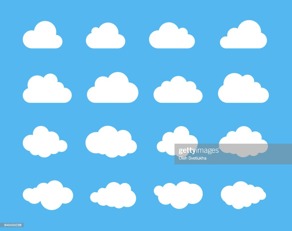 Clouds silhouettes. Vector set of clouds shapes. Collection of various forms and contours. Design elements for the weather forecast, web interface or cloud storage applications
