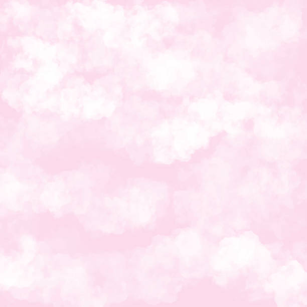 clouds with pink background. baby shower invitation cards background, nursery room wallpaper - pastel stock illustrations