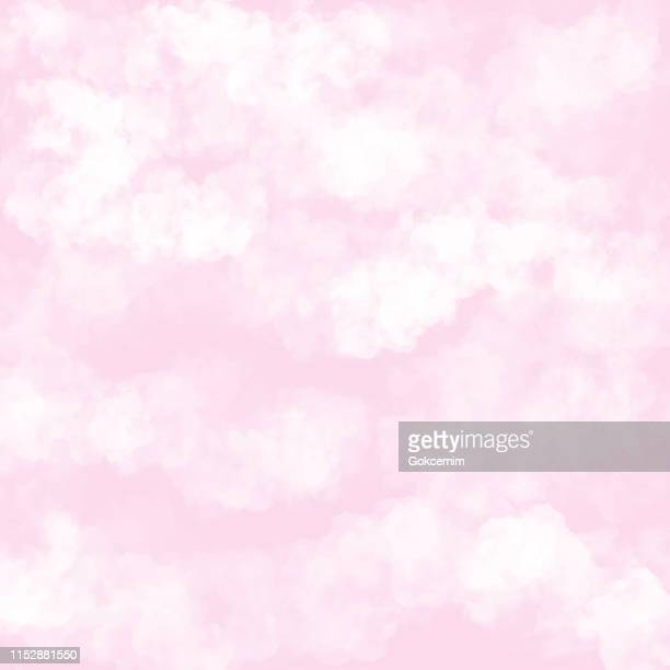 Clouds with Pink Background. Baby Shower Invitation Cards Background, Nursery Room Wallpaper