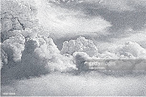 cloudscape - etching stock illustrations