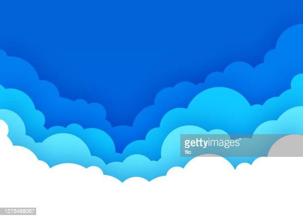 illustrazioni stock, clip art, cartoni animati e icone di tendenza di cloudscape with blue sky cartoon background - cielo minaccioso