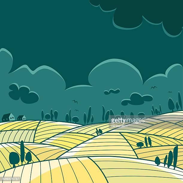 cloudy landscape - rolling landscape stock illustrations