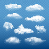 Cloudy sky realistic. Beautiful white clouds condensation collection vector weather elements