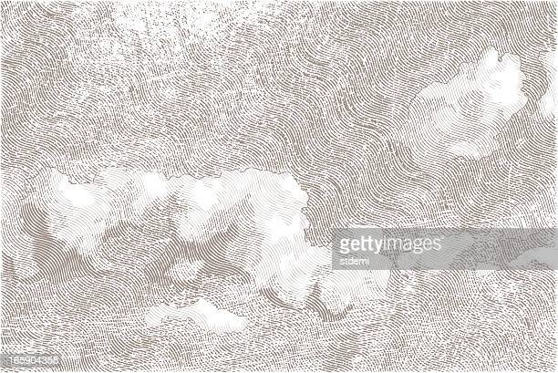cloudy sky - engraving stock illustrations, clip art, cartoons, & icons