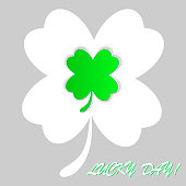 clover four leaf for saint patrick's day vector illustration isolated on white background. Transparent objects used for shadows and lights drawing