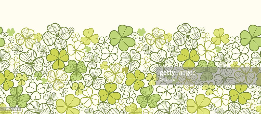 Clover Horizontal Seamless Pattern Border