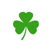 Clover vector icon. Shamrock vector icon on white background