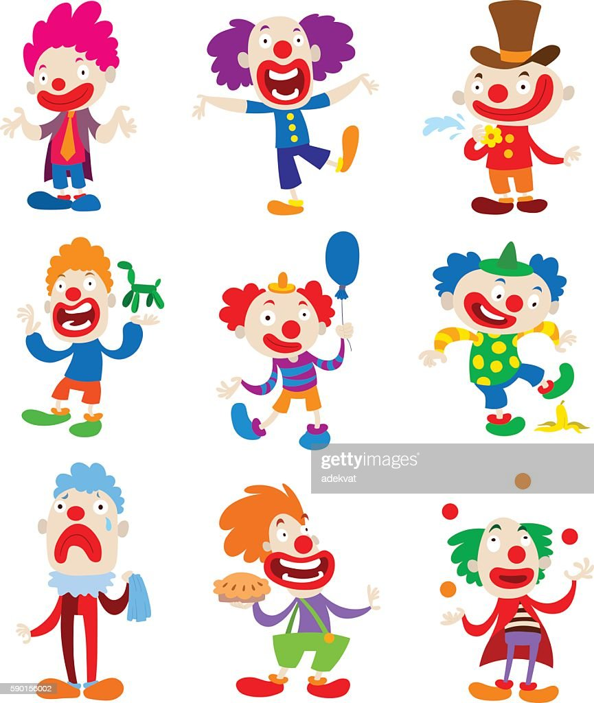 Clown character vector cartoon illustrations