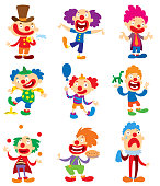 Clown character vector performing different fun activities cartoon illustrations. Clown character funny happy costume cartoon joker. Fun makeup and carnival smile hat nose clown character