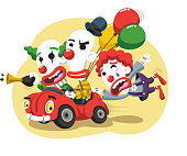 Clown Circus Performance in Car with balloons and horn
