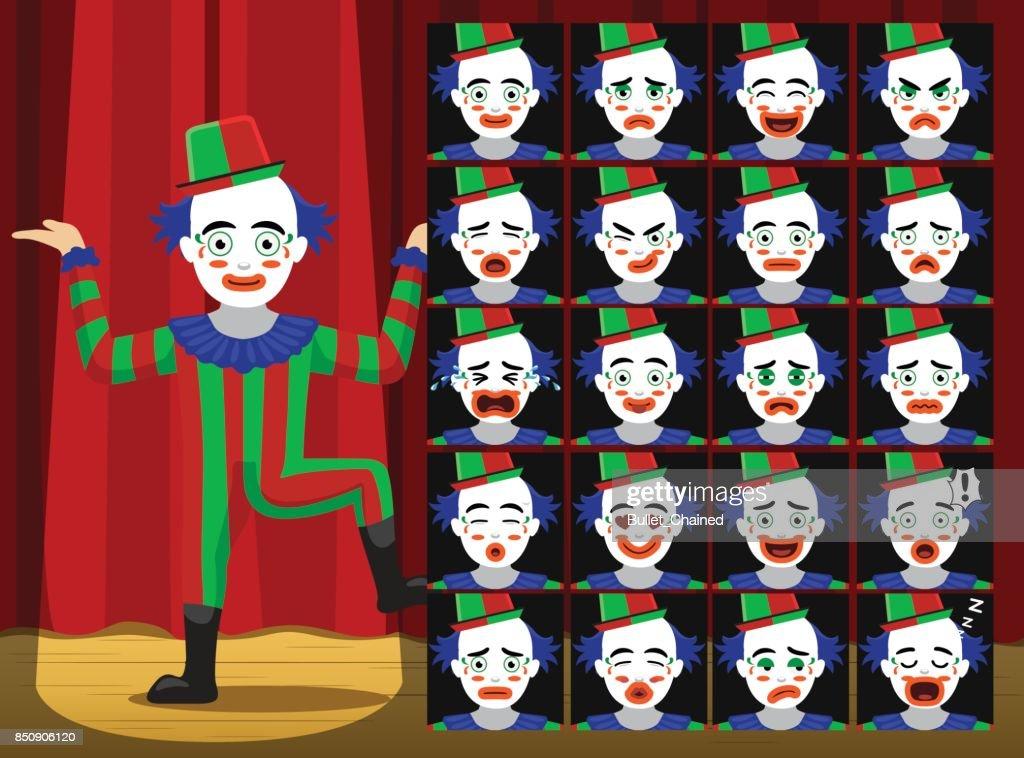 Clown Dancing Cartoon Emotion faces Vector Illustration