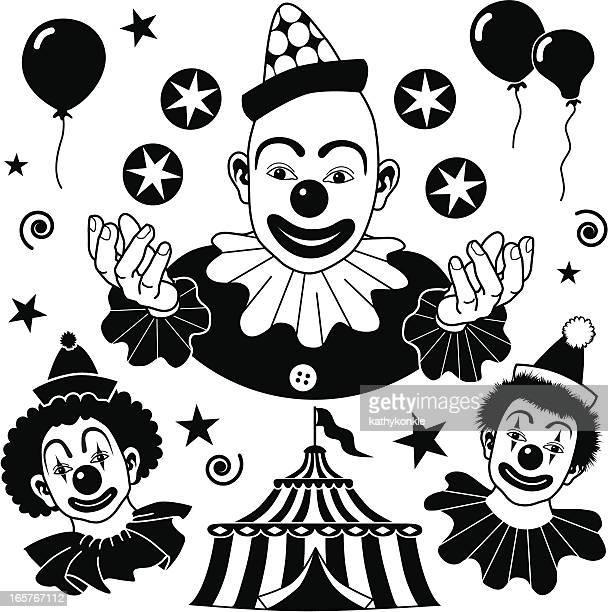 clown design elements - circus tent stock illustrations, clip art, cartoons, & icons