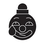 Clown emoji black vector concept icon. Clown emoji flat illustration, sign