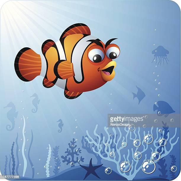 clown fish character - anemonefish stock illustrations, clip art, cartoons, & icons