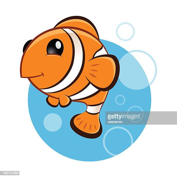 clown fish swiming with bubbles - anemonefish stock illustrations, clip art, cartoons, & icons