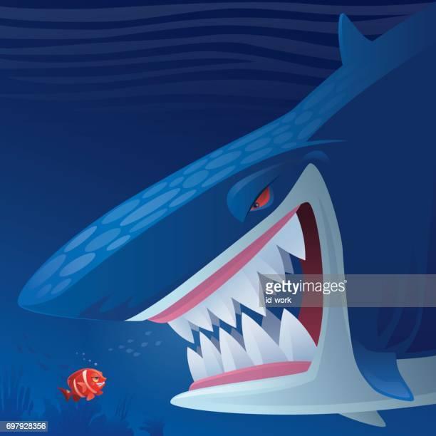 clown fish versus shark - anemonefish stock illustrations, clip art, cartoons, & icons