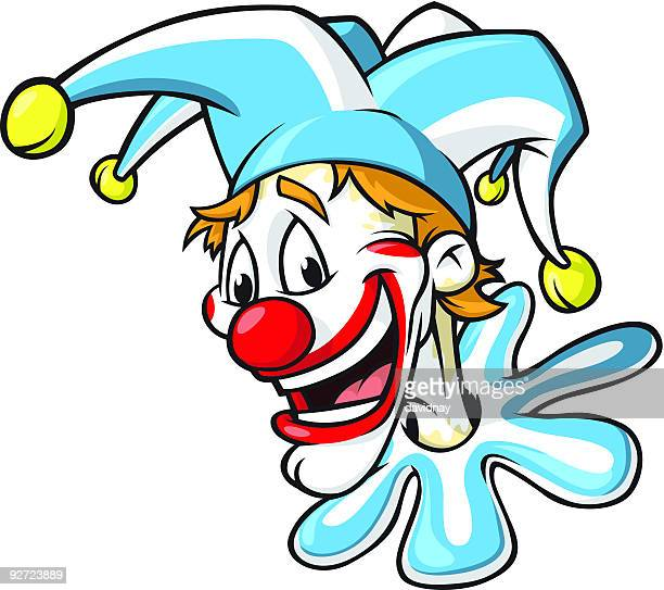clown head - jester's hat stock illustrations, clip art, cartoons, & icons