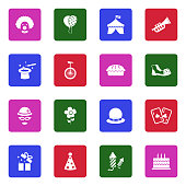 Clown Icons. White Flat Design In Square. Vector Illustration.