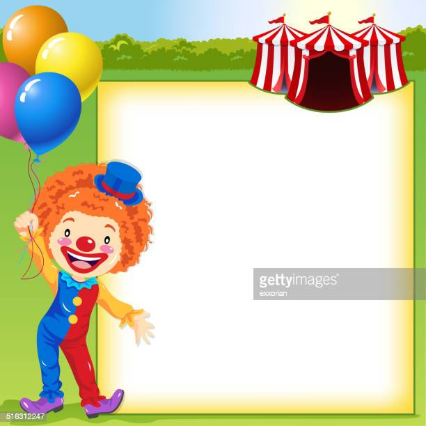 clown in front of the circus notice - school carnival stock illustrations, clip art, cartoons, & icons