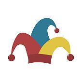 Clown jester hat flat design icon