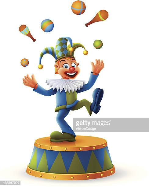 clown juggling - jester stock illustrations, clip art, cartoons, & icons