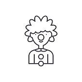 Clown line icon concept. Clown vector linear illustration, symbol, sign