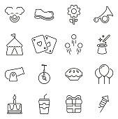 Clown or Clown Tricks & Equipment Icons Thin Line Vector Illustration Set