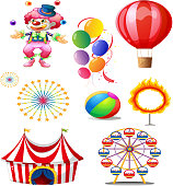 Clown playing balls with different circus stuffs