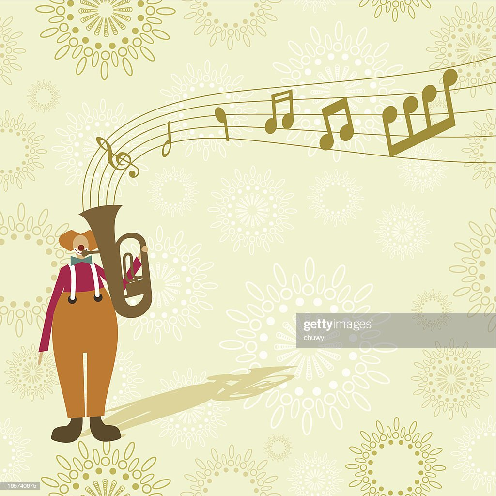 Clown playing the tuba : Stock Illustration