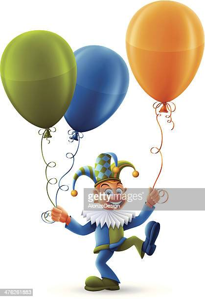 clown with balloons - jester stock illustrations, clip art, cartoons, & icons
