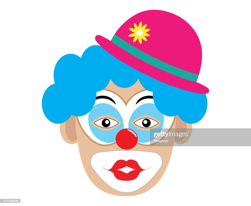 Clown with blue wig giving kiss, vector