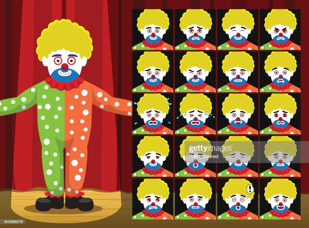 Clown Yellow Curly Hair Dot Clothes Costume Cartoon Emotion faces Vector Illustration