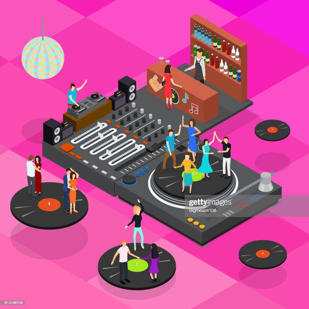 DJ Club Bar Concept 3d Isometric View. Vector