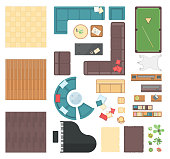 Club interior elements - set of modern vector objects