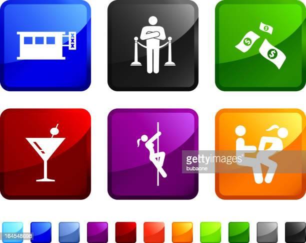 ein club-mitarbeiter aufkleber set auf weißem hintergrund - lap dance stock-grafiken, -clipart, -cartoons und -symbole